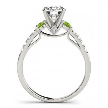 Diamond & Peridot Three Stone Engagement Ring 14k White Gold (0.38ct)