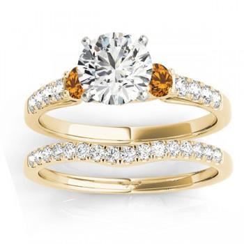 Diamond & Citrine Three Stone Bridal Set Ring 14k Yellow Gold (0.55ct)