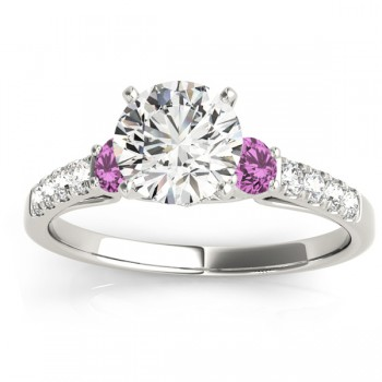 Diamond & Pink Sapphire Three Stone Bridal Set Ring 14k White Gold (0.50ct)