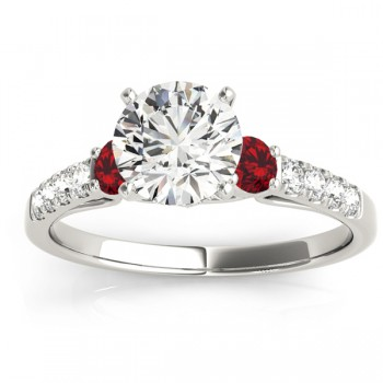 Diamond & Ruby Three Stone Bridal Set Ring 14k White Gold (0.55ct)
