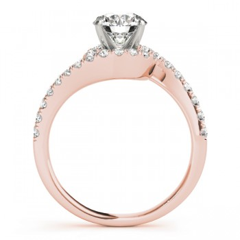 Diamond Twisted Swirl Engagement Ring Setting 14k Rose Gold (0.36ct)