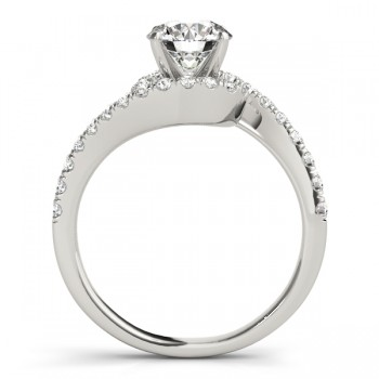 Diamond Twisted Swirl Engagement Ring Setting 14k White Gold (0.36ct)