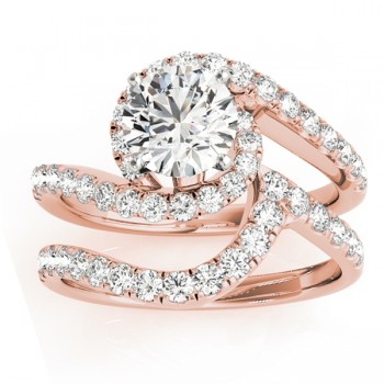 Diamond Twisted Swirl Bridal Set Setting 14k Rose Gold (0.62ct)