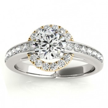 Halo Engagement Ring Setting Diamond Accented Shank 14k Y. Gold 0.38ct