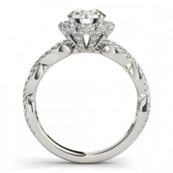 Twisted Halo Diamond Flower Engagement Ring Setting 18k W. Gold 0.63ct
