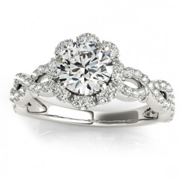 Twisted Halo Diamond Flower Engagement Ring Setting  0.63ct