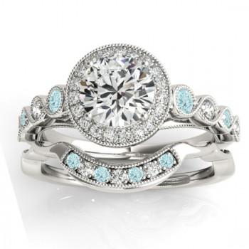 Aquamarine & Diamond Halo Bridal Set Setting 14K White Gold (0.54ct)