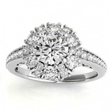 Diamond Halo Round Engagement Ring Setting 14k White Gold (1.01ct)