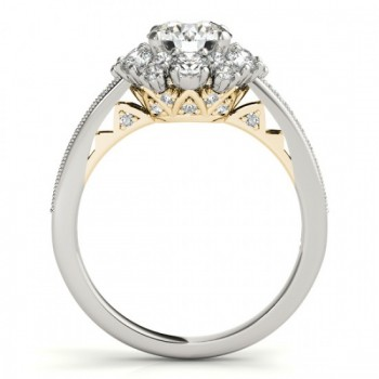 Diamond Halo Round Engagement Ring Setting 14k Two Tone Gold (1.01ct)