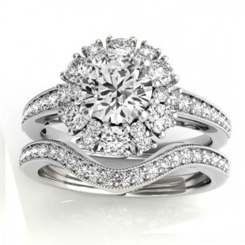Diamond Halo Round Bridal Set Setting 14k White Gold (1.23ct)