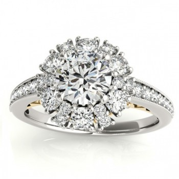 Diamond Halo Round Bridal Set Setting 14k Two Tone Gold (1.23ct)