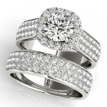 Three Row Halo Diamond Engagement Ring Bridal Set 14k W. Gold (2.38ct)