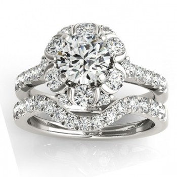 Flower Halo Diamond Ring and Band Bridal Set 14k White Gold 1.21ct