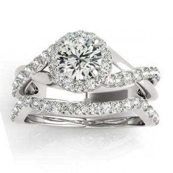 Diamond Twisted Halo Engagement Ring Setting & Band Platinum 0.53ct