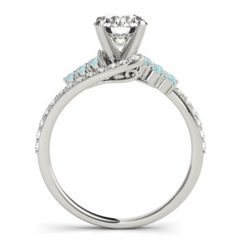 Diamond & Aquamarine Bypass Engagement Ring 14k White Gold (0.45ct)