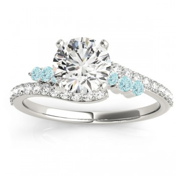 Diamond & Aquamarine Bypass Bridal Set 14k White Gold (0.74ct)