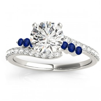 Diamond & Blue Sapphire Accented Bypass Engagement Ring 14k White Gold (0.45ct)