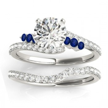 Diamond & Blue Sapphire Bypass Bridal Set 14k White Gold (0.74ct)