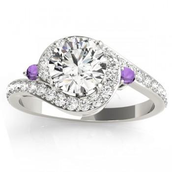 Halo Swirl Amethyst & Diamond Engagement Ring 14k White Gold (0.48ct)