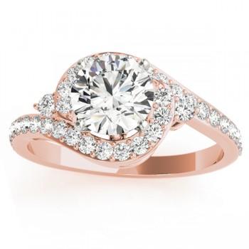 Diamond Halo Swirl Engagement Ring Setting 18k Rose Gold (0.48ct)