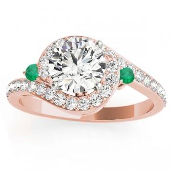 Halo Swirl Emerald & Diamond Engagement Ring 14k Rose Gold (0.48ct)