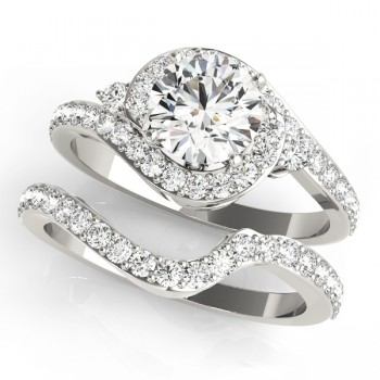 Halo Swirl Diamond Accented Bridal Set 14k White Gold (1.29ct)