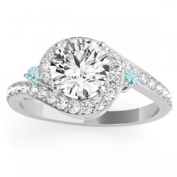 Halo Swirl Aquamarine & Diamond Bridal Set 14k White Gold (0.77ct)