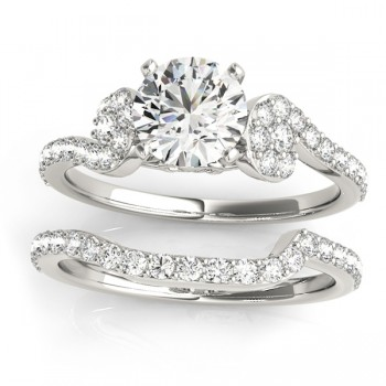 Diamond Single Row Bridal Set Setting 14k White Gold (0.68 ct)