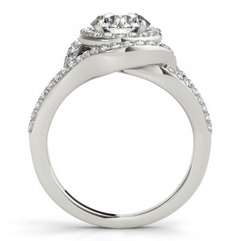 Split Shank Double Halo Diamond Engagement Ring 14k White Gold 0.80ct