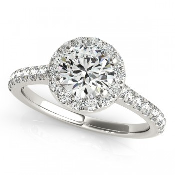 Round Diamond Halo Bridal Ring Set 14k White Gold (1.57ct)
