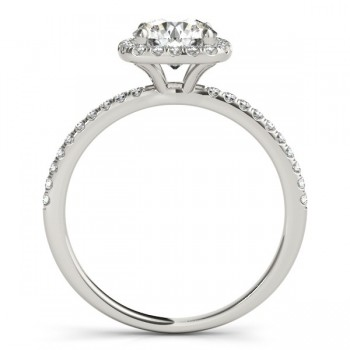 Square Halo Diamond Engagement Ring Setting 18k White Gold (0.20ct)