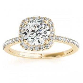 Square Halo Diamond Engagement Ring Setting 18k Yellow Gold (0.20ct)