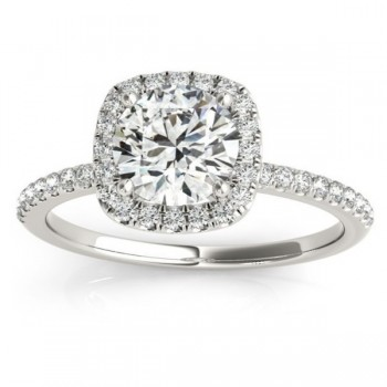 Square Halo Diamond Engagement Ring Setting Platinum (0.20ct)