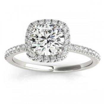 Square Halo Lab Grown Diamond Engagement Ring Setting Palladium (0.20ct)