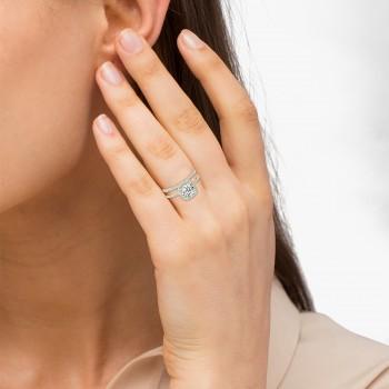 Square Halo Diamond Bridal Set Ring Setting & Band 14k Y. Gold 0.35ct