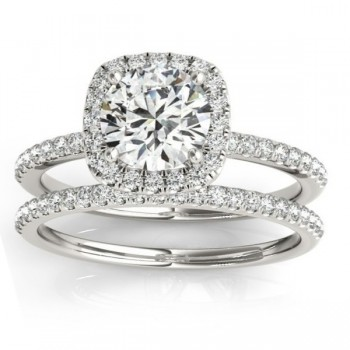 Square Halo Diamond Bridal Setting Ring & Band Palladium (0.33ct)