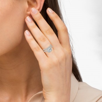 Square Halo Diamond Bridal Setting Ring & Band Palladium (0.33ct)