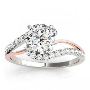 Diamond Split Shank Engagement Ring Setting 18k Two-Tone Gold (0.31ct)