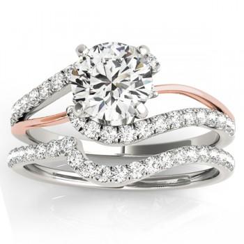 Diamond Split Shank Bridal Set Setting 18k Two-Tone Gold (0.52ct)