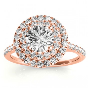 Diamond Double Halo Engagement Ring Setting 14k Rose Gold (0.33ct)