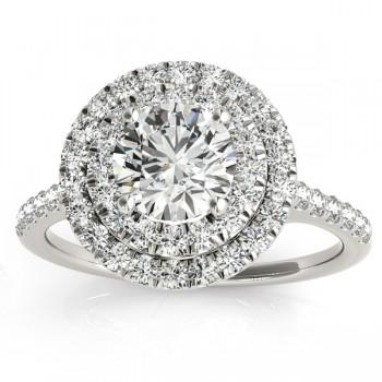 Diamond Double Halo Engagement Ring Setting 14k White Gold (0.33ct)