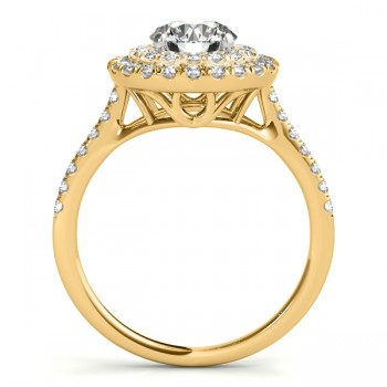 Diamond Double Halo Engagement Ring Setting 14k Yellow Gold (0.33ct)