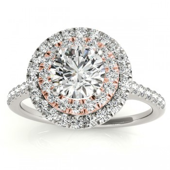 Diamond Double Halo Engagement Ring Setting 18k Two Tone Gold (0.33ct)