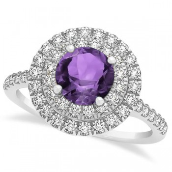 Double Halo Round Amethyst Engagement Ring 14k White Gold (1.42ct)