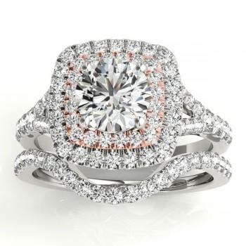 Square Double Halo Diamond Bridal  Set 18k Two-tone Gold (0.87ct)