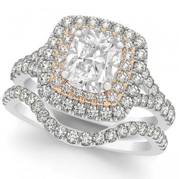 Double Halo Cushion Diamond Bridal Set in 14k Two-Tone Gold (2.20ct)