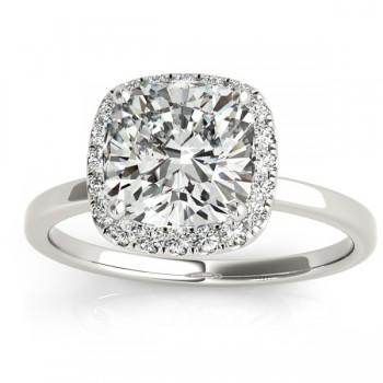 Cushion Diamond Halo Engagement Ring 14k White Gold (0.15ct)