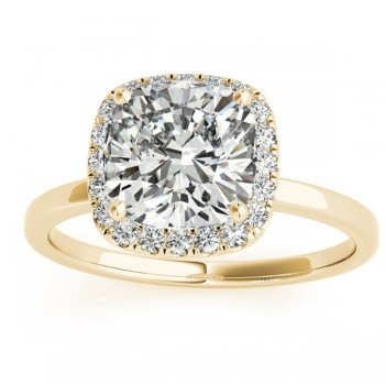 Cushion Diamond Halo Engagement Ring 14k Yellow Gold (0.15ct)