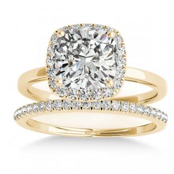 Cushion Diamond Halo Bridal Set 18k Yellow Gold (0.29ct)