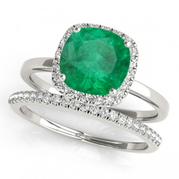 Cushion Emerald & Diamond Halo Bridal Set 14k White Gold (1.14ct)